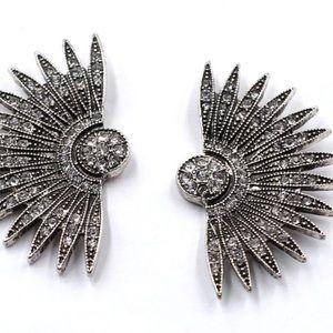 Vintage Big Earrings Stud with Beads